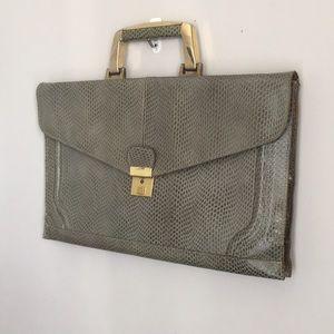 Vintage Italian Leather purse clutch in green